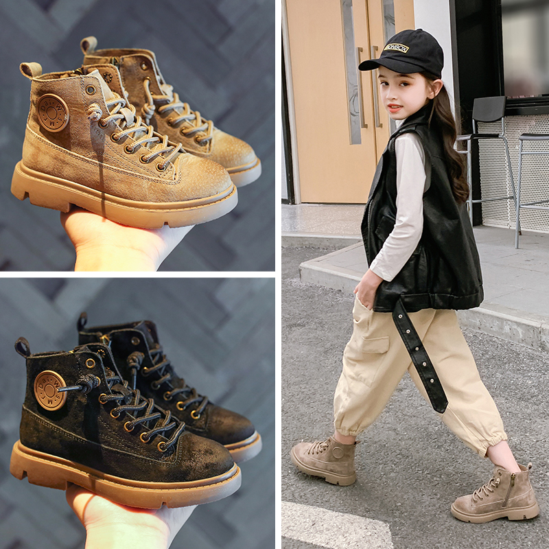 AAdct 2019 Handmade Girls Boots Winter Fashion New Little Children Shoes Leather Kids Martin Boots For Boys Brand Cotton Warm