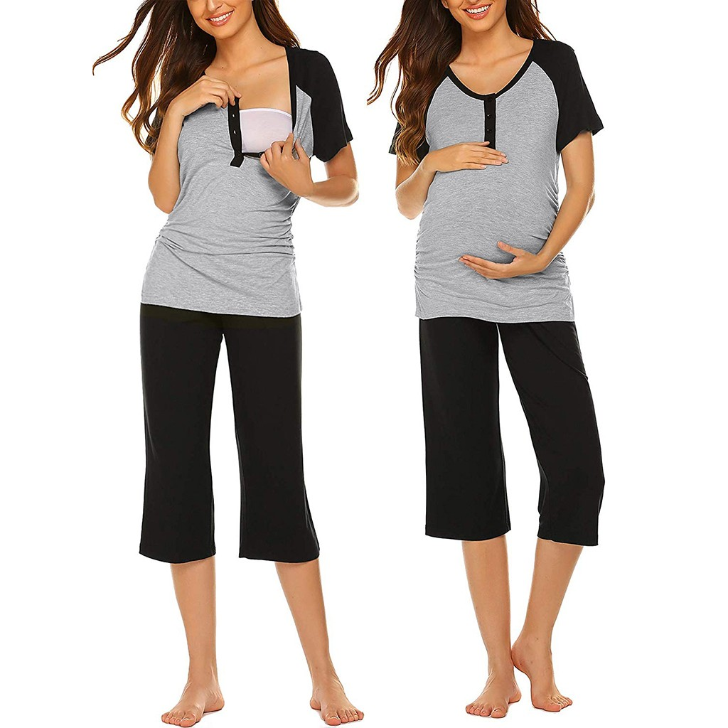 Women Maternity Short Sleeve Top T-shirt+Capri Pants Nursing Pajamas Set For Pregnant Women Clothes Nursing Mama Clothes
