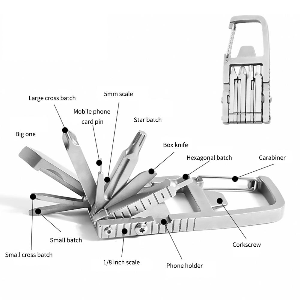 На открытом воздухе комбинация инструмент +EDC отвертка многофункциональный складной кемпинг выживание партия мини портативный аварийный гаджет серебро