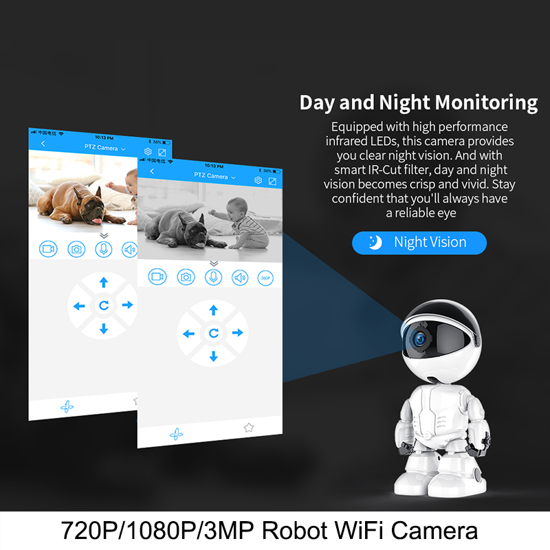 1080P Wifi IP Camera Robot Intelligent Auto Tracking Home Security IP Camera Two Way Audio CCTV Baby Monitor Surveillance Camera