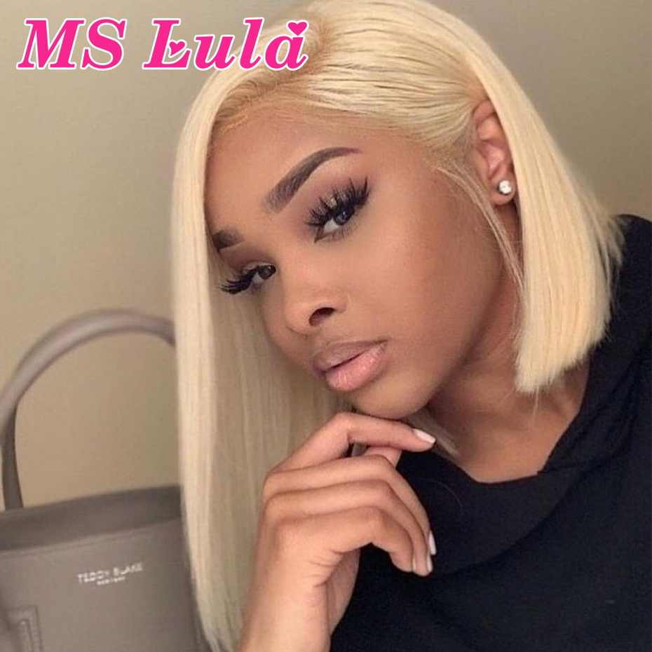 613 Blonde Short Bob Wigs Pre Plucked MS LuLa Brazilian 6-16 Remy Wig With Baby Hair 150% Transparent Lace Front Human Hair Wigs