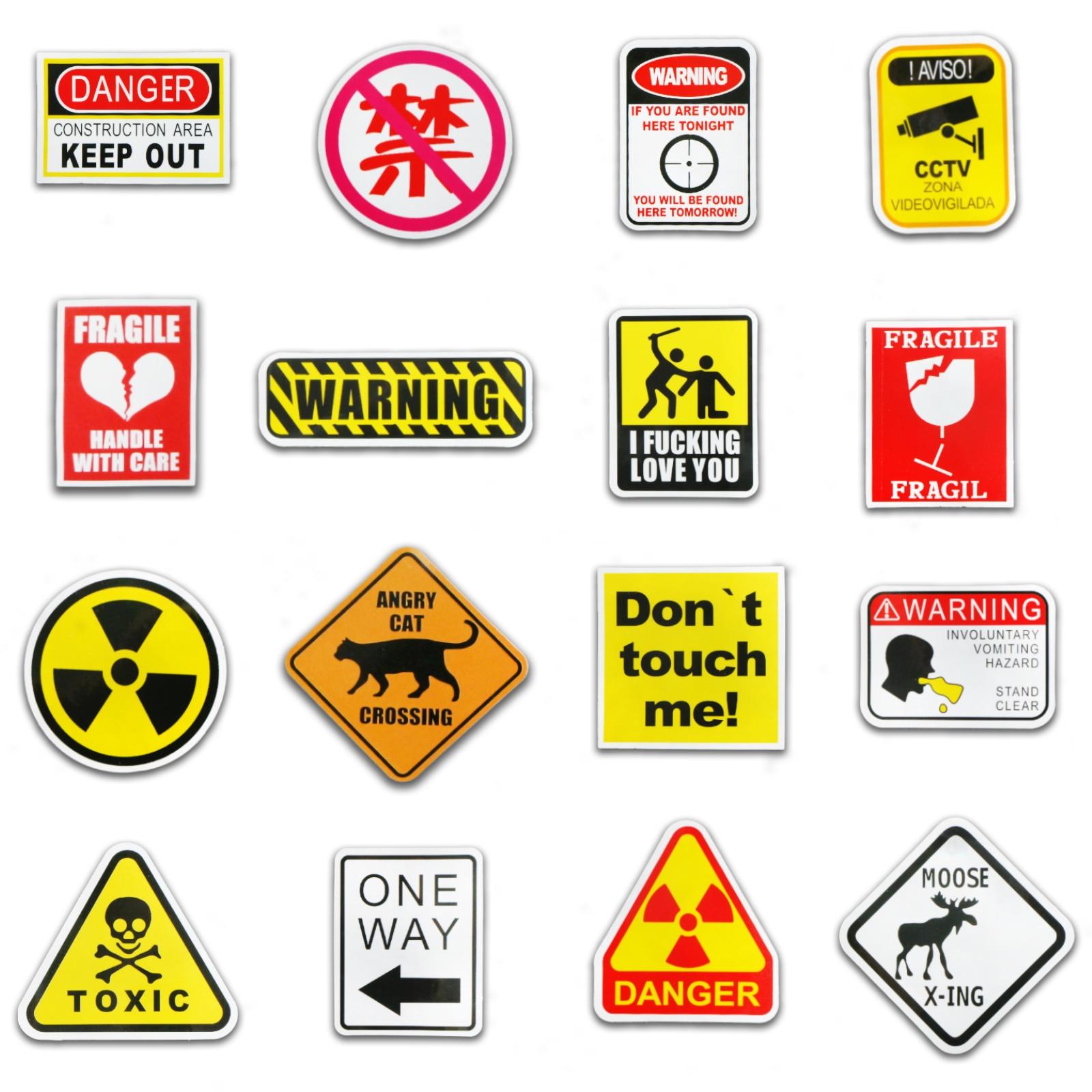 100 PCS Banning Signs Stickers Warning Danger Reminder Waterproof Decal Sticker