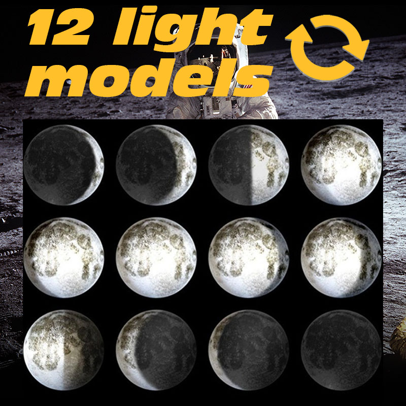 Image 3 - Moon light wall lamps for bedroom wall deco child room baby night light creative fixtures kids room light 3d print wall sconces-in LED Indoor Wall Lamps from Lights & Lighting