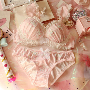 Image 1 - Japanese Lolita lingerie set thin embroidery bra set sexy lace underwear set Floral bras for women  Kawaii  bra and panty set