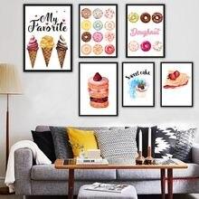 Картина на холсте с изображением вкусных кексов хлеба пончиков