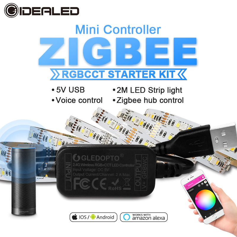 Smart Tv ZigBee Led Rgbcct Mini Controller Strip Light 5V Usb Controller By Alexa Echo Plus Voice Control Zigbee Hub Smartthings