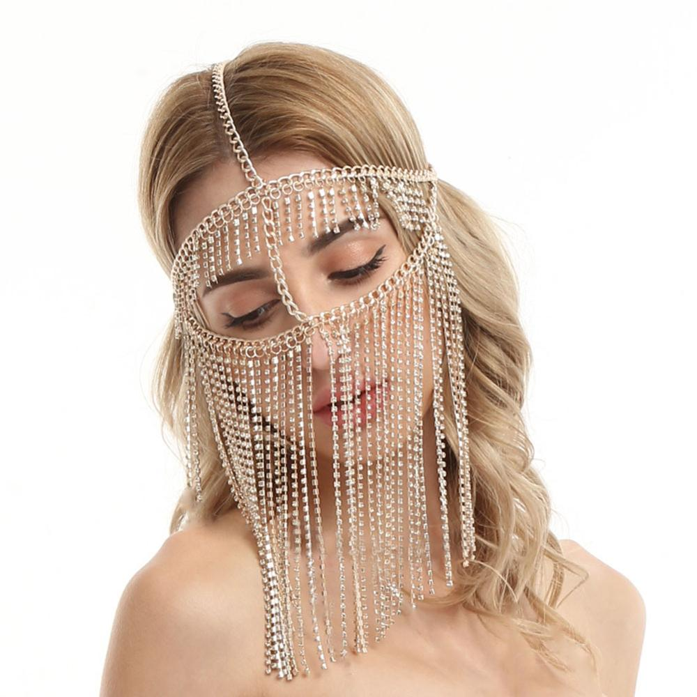 Image 5 - Belly Dance Headdress Mask Chain for Women   Venetian Mardi Gras Costumes Mask Ball Face Chain Jewelry for Nightclub Party    -
