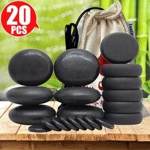 TONTIN Juego de masajes de piedra caliente, piedras de masaje redondas de basalto, herramienta de masaje para salón, SPA, calentador, bolsa de 220 y 110 voltios, CE y ROHS
