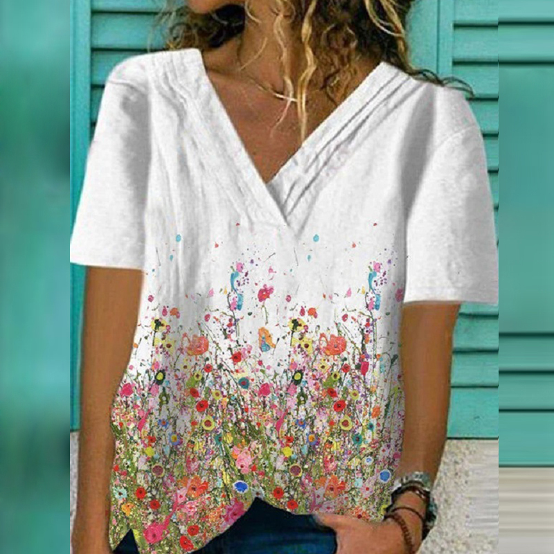 Sexy V-Neck Colorful Print Tee Shirt Fashion Casual Short Sleeve Tops Tshirt Summer Loose Plus Size Women T Shirt Clothing Mujer