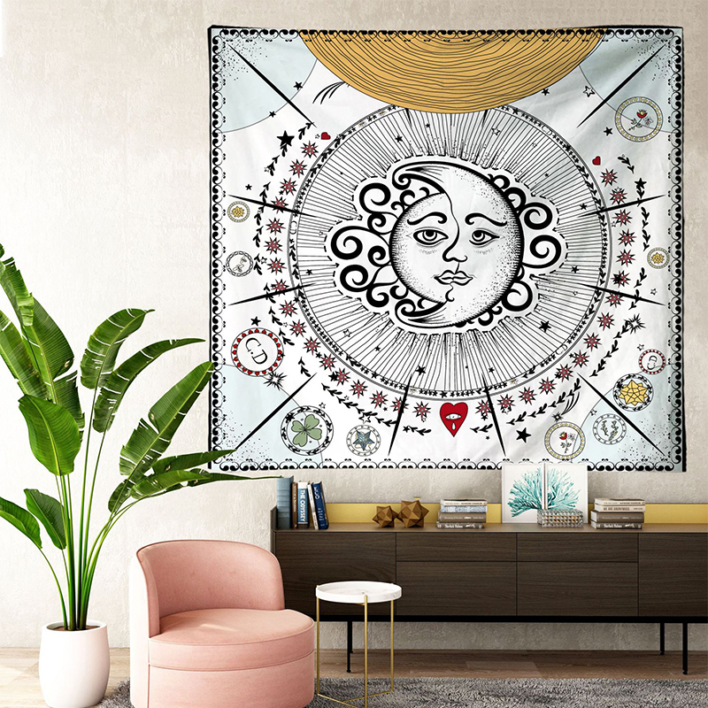 Image 2 - Tarot Tapestries Sun Star Moon Hanging Tapestry Hippie Wall  Hanging Blanket Wall Carpet Yoga Mat Home DecorTapestry   -