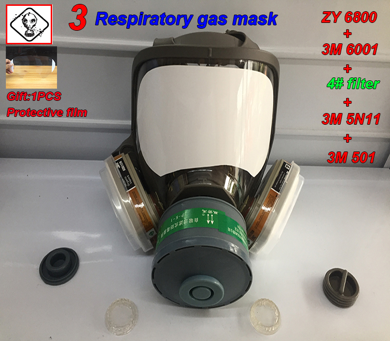 ZY 6800 Respirator Gas Mask 3 Interface Multifunction Gas Mask For Ammonia Integrated Toxic Gas Dust Smoke Protective Mask