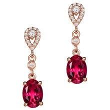 Маленькие свисающие серьги с Рубиновыми драгоценными камнями для женщин femme 18 К розовое золото Красный Кристалл Циркон бриллианты модные ювелирные изделия pendientes