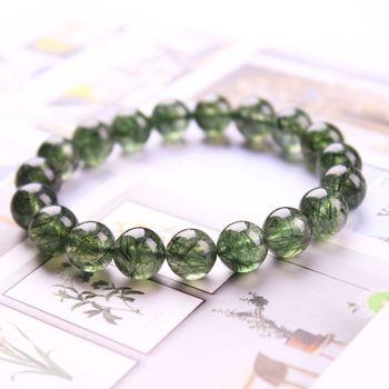 Браслет с кристаллами из натуральных Зеленых Волос, кварцевый кристалл, лечебный браслет, круглые бусины, эластичные модные женские и мужские украшения рейки, подарок «сделай сам»