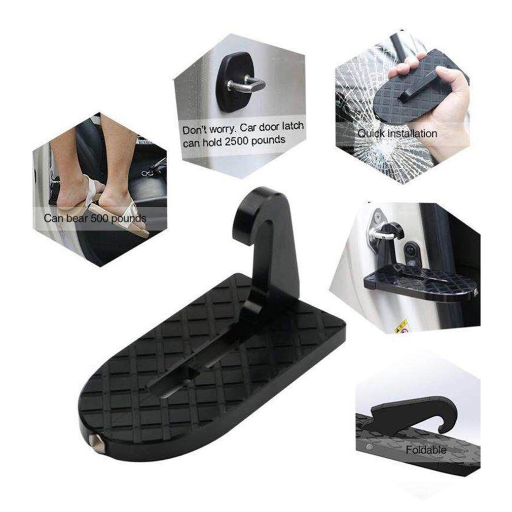 2 In 1 Foldable Car Vehicle Folding Ladder Foot Pegs Easy Access To Car Rooftop With Safety Hammer For Jeep Car SUV Freeshipping