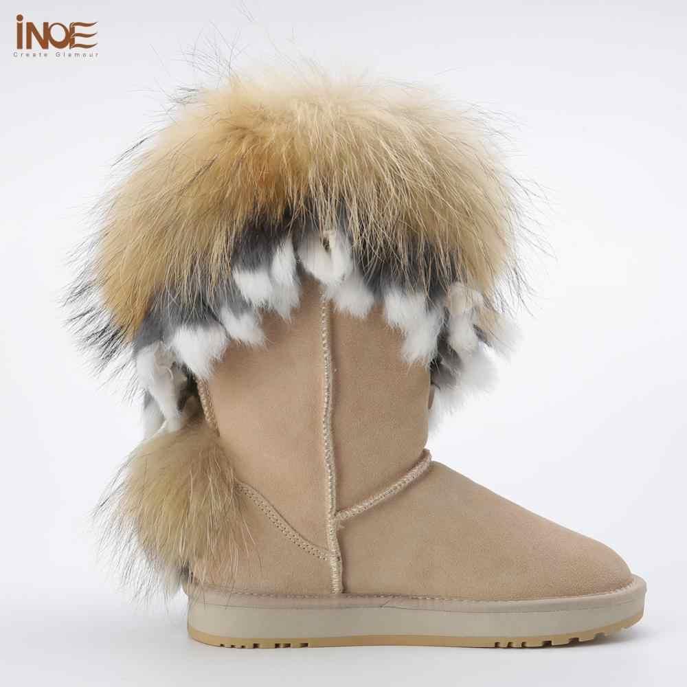 INOE אופנה פרה זמש עור טבעי שועל פרווה נשים חורף מגפי מגפי שלג באיכות גבוהה מכירת חיסול גדול הנחה חול צבע