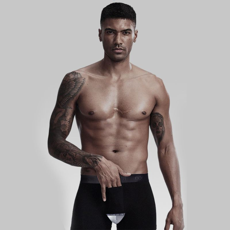 Men Boxer Briefs Underwear Separate Dual Pouch Fly Breathable Mesh Cotton Shorts