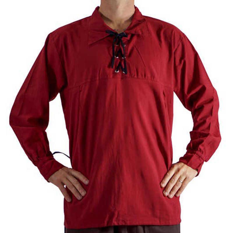 CYSINCOS Medieval Men Bandage Steampunk Shirt Long Sleeve Tops Lace Up Men Shirt Solid Color Tees Men Vintage Brand Clothing