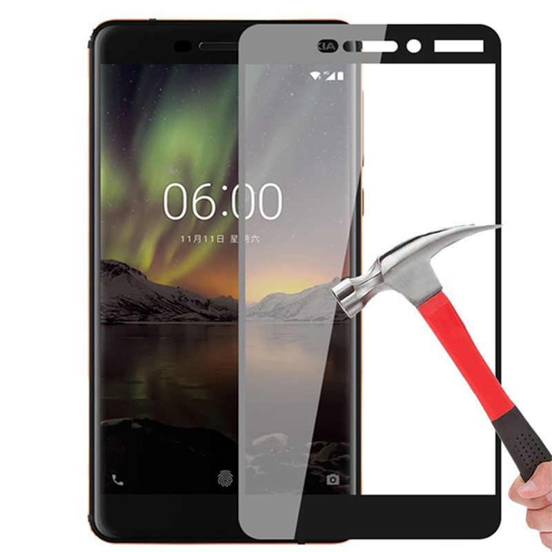 1 adet/2 adet tam kapak ekran koruyucu Nokia 1 için 2 3 5 6 için 2018 temperli cam nokia 2.1 3.1 5.1 6.1 cam Nokia 7 Plus için