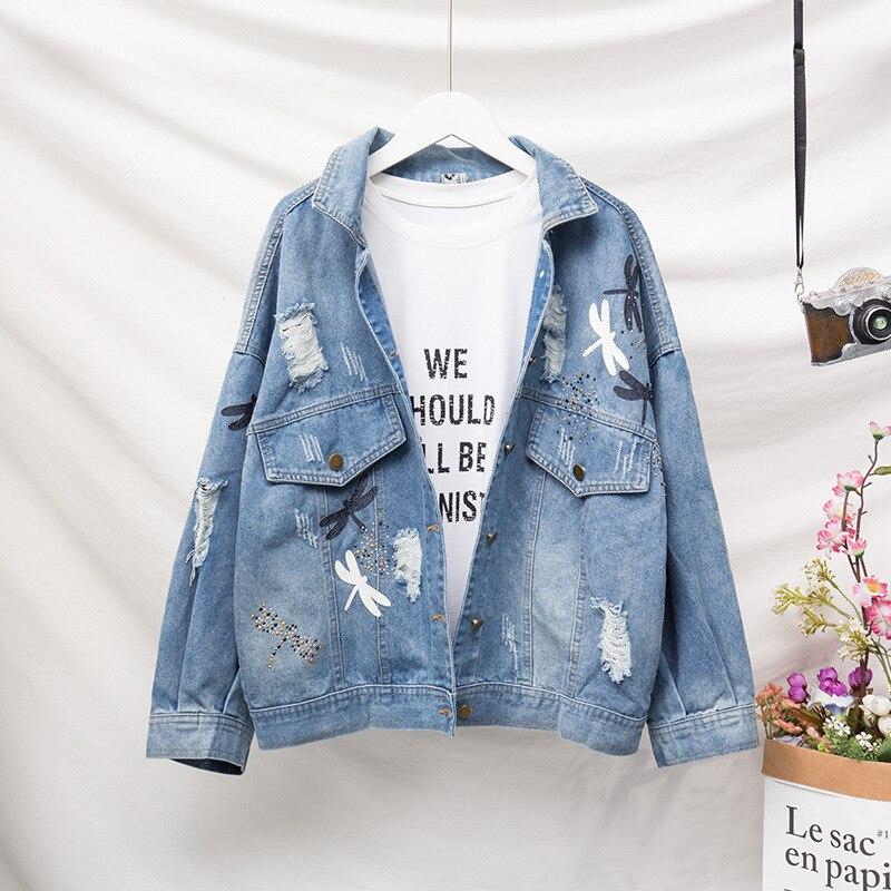 JVCAKE Plus Size Women'S Loose Thin Section Fashion Decal Embroidery Pattern Denim  Jacket Lapel Blue 2019 Summer 3XL 4XL 5XL XL