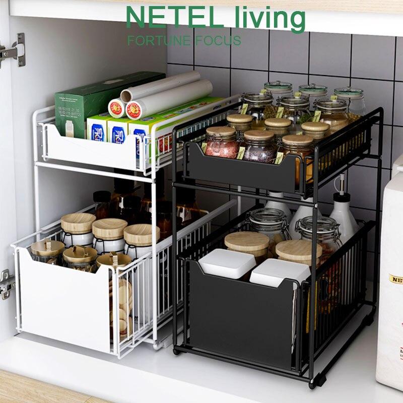 2 tier sliding cabinet basket under sink wire market baskets countertop pull out organizer drawer spice rack storage shelf