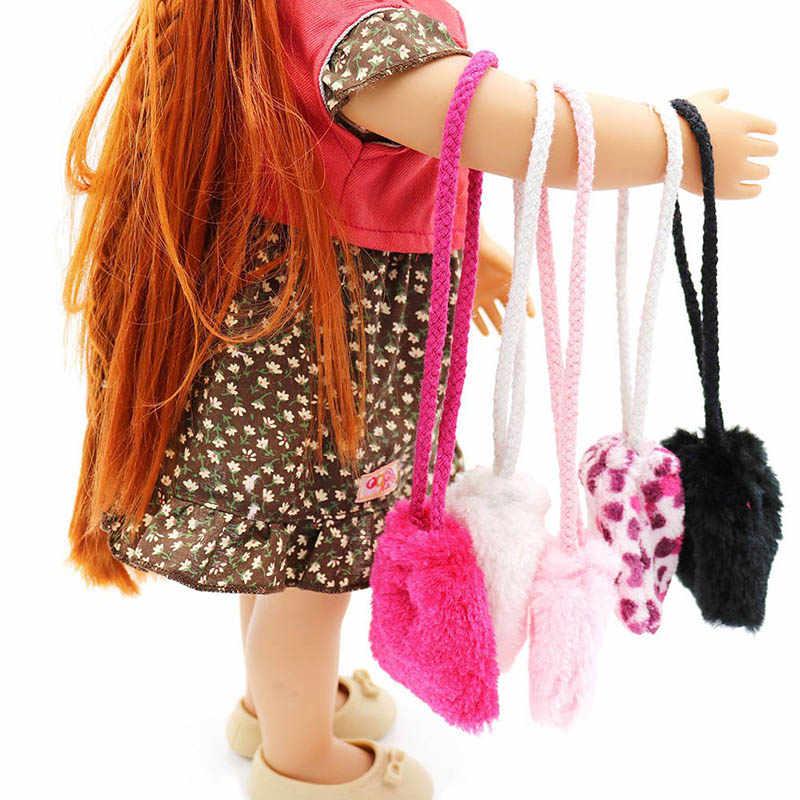 กระเป๋าแฟชั่นสีขาวกระเป๋าตุ๊กตาทำด้วยมือตุ๊กตาเสื้อผ้าตุ๊กตาตุ๊กตาอุปกรณ์เสริมกระเป๋าถือสำหรับตุ๊กตา 18 นิ้ว