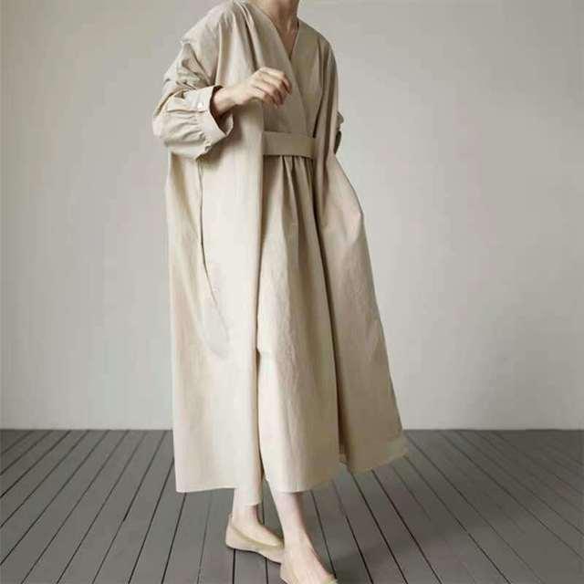 Johnature 2021 Autumn New Korean V-neck Full Sleeve Plus Size Solid Color Dresses Women Casual Loose Pockets Female Dress 2