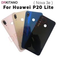 Funda trasera de cristal para Huawei P20 Lite, cubierta de batería con lente de cámara Nova 3e, puerta trasera de la carcasa para Huawei P20 Lite