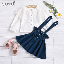 Skirt Suit Outfits Toddler Spring Long-Sleeve Baby-Girls Flower Denim Top Suspender Lace