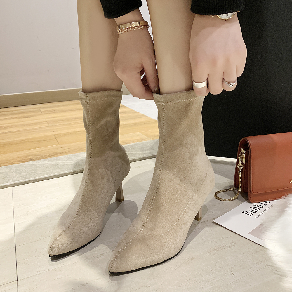 Black Beige Suede Boots Thin High Heel Ankle Boots for Women 2019 Winter Pointed Toe Elegant Short Booties Ladies