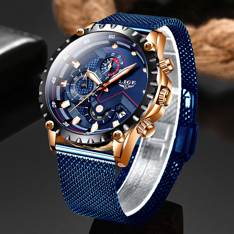 2020 New Blue Casual Fashion Watch Men Quartz Clock Mens Watches LIGE Top Brand Luxury Waterproof Wrist Watch Relogio Masculino