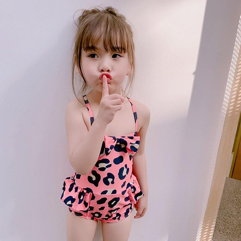 2019 South Korea GIRL'S KID'S Swimwear Baby Small CHILDREN'S Cute Princess One-piece Leopord Pattern Spa Resort Swimwear CHILDRE