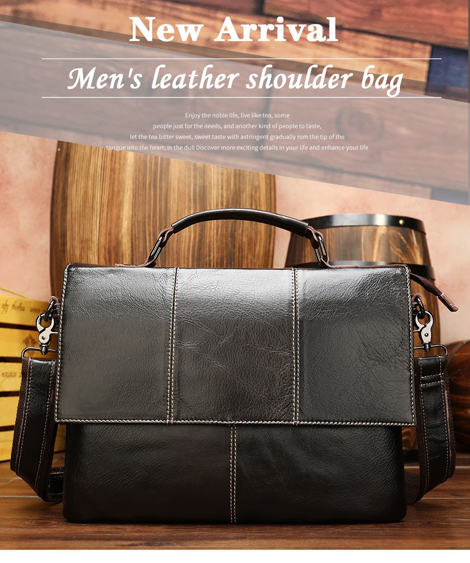 Hbf921db3e44541d3a7c8bb6decf0f57ai Bag Men's Briefcase Genuine Leather Office Bags for Men Leather Laptop Bags Shoulder/Messenger Bag Business Briefcase Male 7909