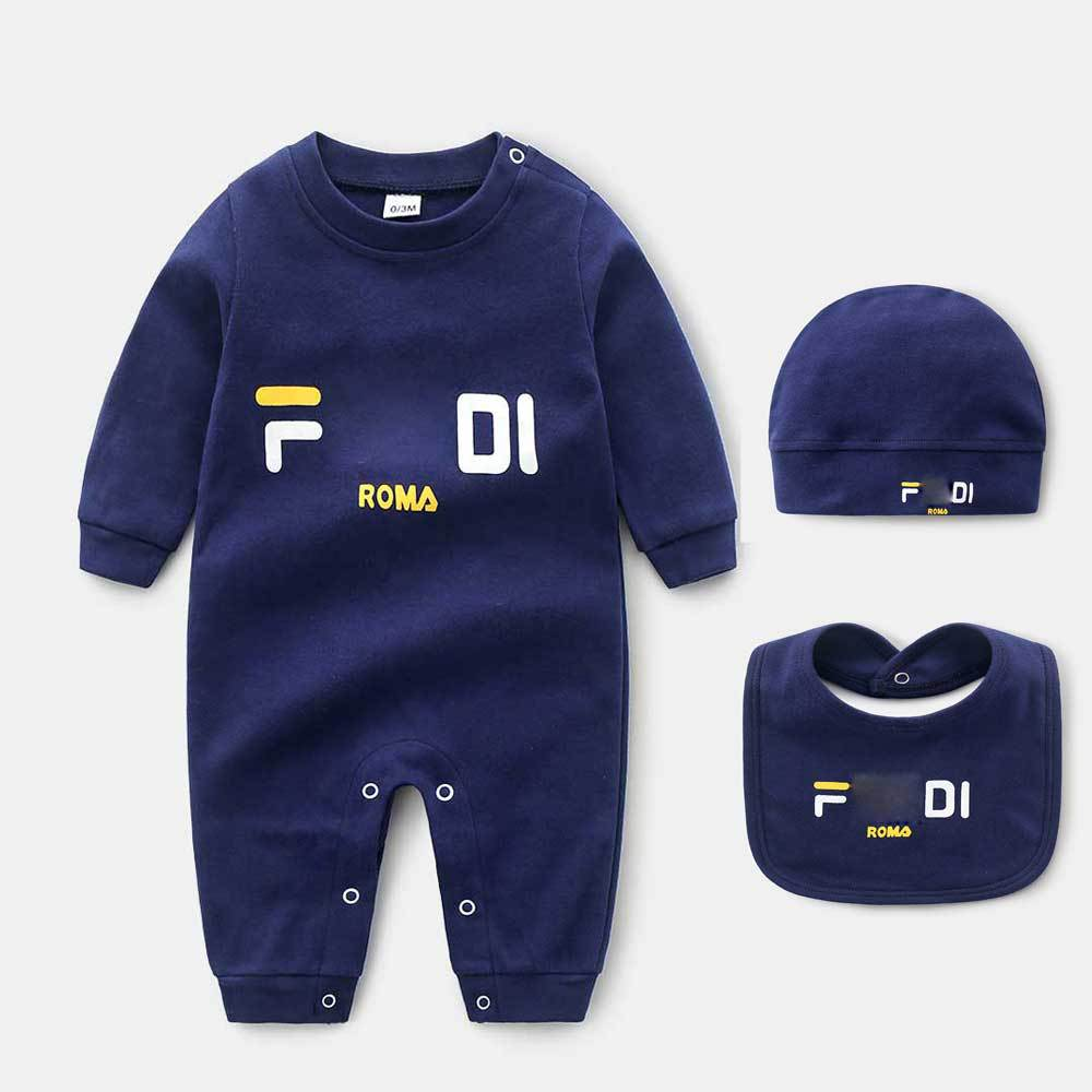 Newborn Baby Boy Romper Hat Bibs 3-piece Sets Clothes Jumpsuit Letter Long-sleeved Crawl New Born Toddler Girl Winter Clothes