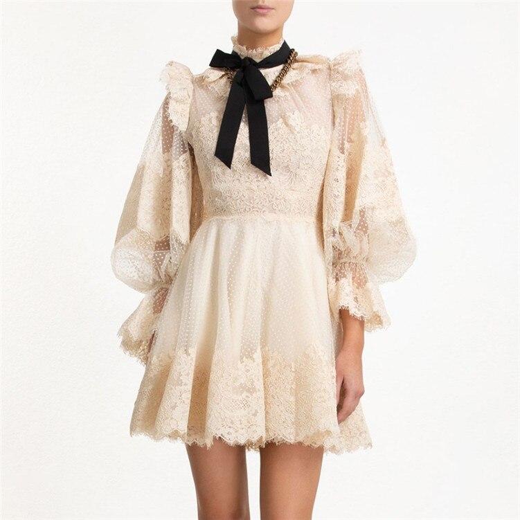 2019 automne Begie maille Patchwork dentelle mousseline de soie lanterne manches femmes Mini robe
