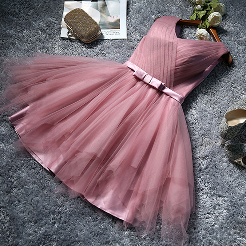 Bridesmaid Service 2019 New Style Rosy Brown Bridesmaid Mission Formal Dress Sisters Skirt Short Decoration Body Bride Late Form