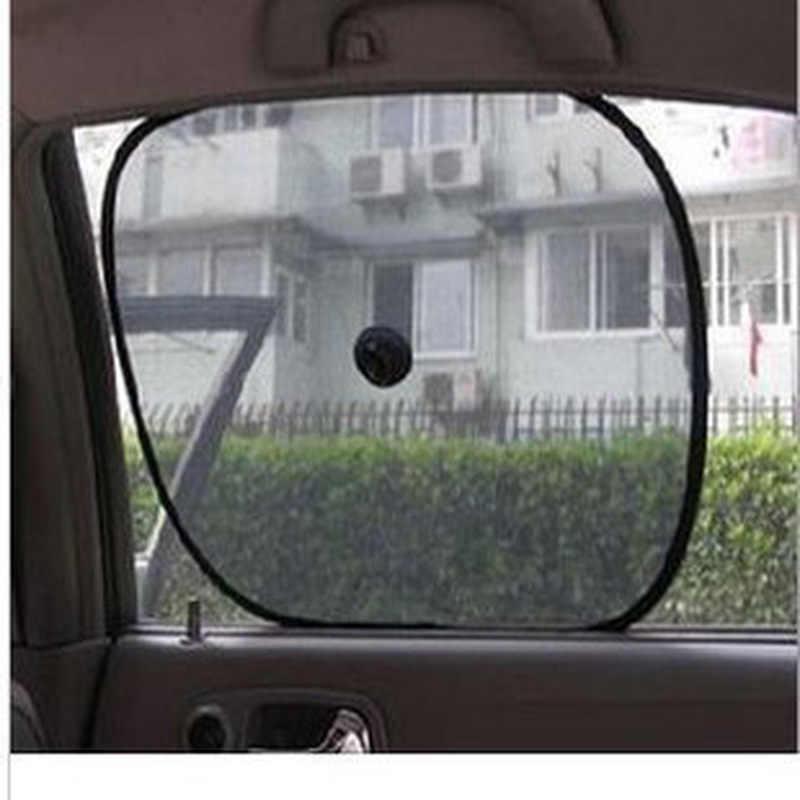 2Pcs ผ้าม่านรถ Sunshade Blocker UV สีดำตาข่ายดวงอาทิตย์สำหรับด้านหน้าและหน้าต่างด้านหลัง Auto จัดแต่งทรงผม Sucker 44*36 ซม.