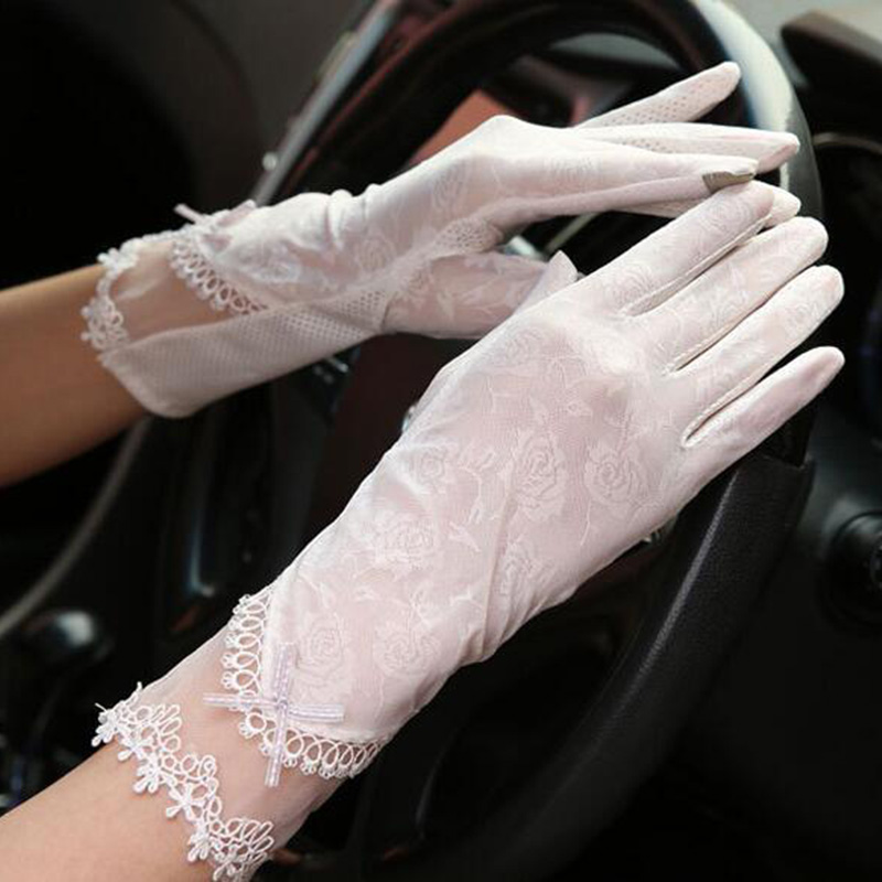 Summer Women Long Non-Slip Bow Lace Sunscreen Driving Gloves  Sexy Ice Silk Thin Anti-UV Touch Screen Full Finger Gloves K20