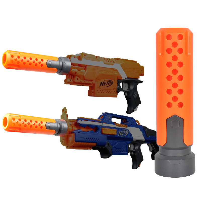 For Nerf N-strike Elite Series Silencer Outdoor Fun Toy Airsoft Orange Black Improved Front Tube Decoration