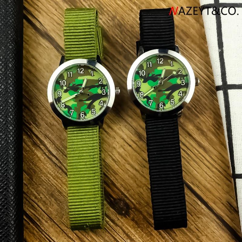 Kids Watch Little Boys Girls Outdoor Sports Army Watch Childre Camouflage Face Luminous Hands Canvas Strap Quartz Gift Clock