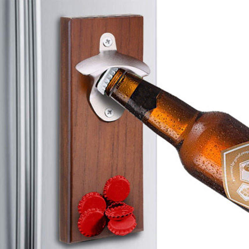 Magnet Bottle Opener Wall Mounted Rustic House Decor Can Wooden Opener Beer Magnet Kitchen Tools Bar Accessories Party Gifts