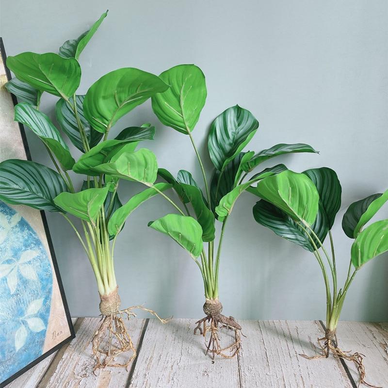 Роскошный узорчатый зеленый фикус букет с корнями цветочные искусственные растения для дома искусственное украшение для сада цветы