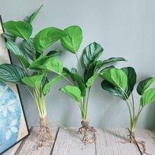 De lujo con estampado verde ficus ramo con raíces flores artificiales plantas para casa decoración artificial de jardín de flores