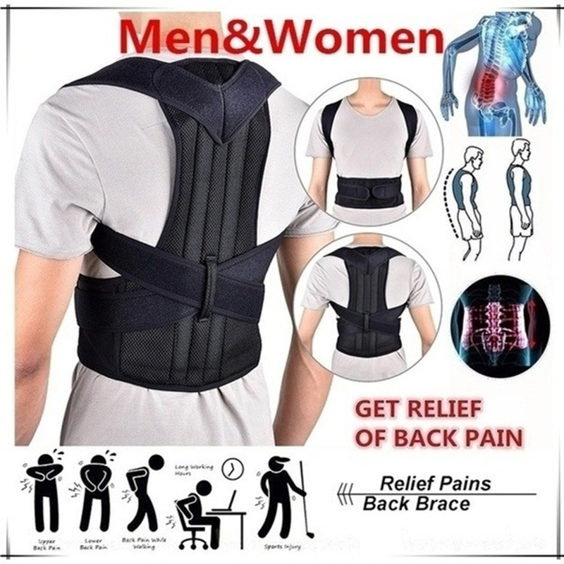 Men&Women Waist Protection Accessories Adjustable Back Correction Black Band With Support Plate Kyphosis Correction Band Belt