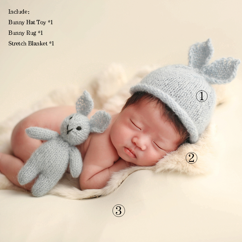 Jersey Baby Bonnet Toy And Wrap Set Photo Props Newborn Knitted Mohair Blanket Theme Package Newborn Photography Props