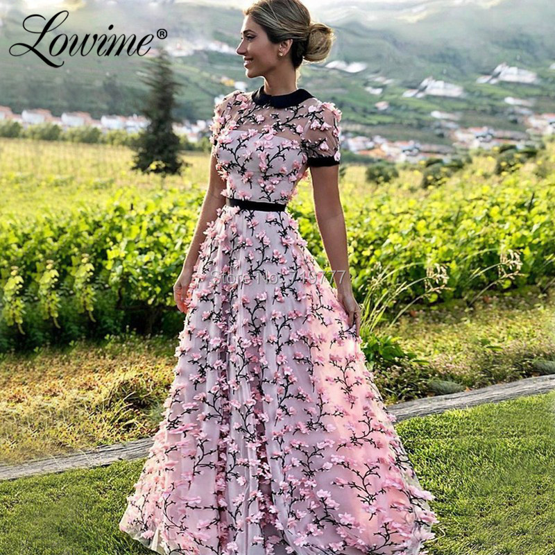 Pink Vestido De Festa Dubai Kaftan Short Sleeves Formal Arabic Evening Dress A Line Prom Dresses Long Robe De Soiree Party Dress