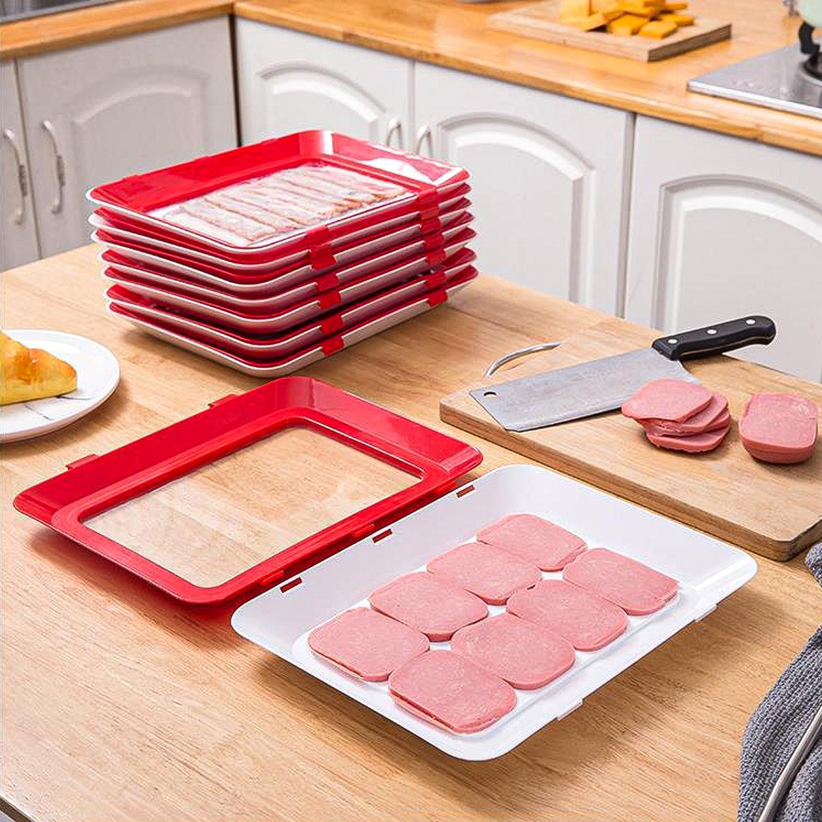 1pc Штабелируемый Еда сохранение лоток Vacuum Seal Еда контейнер для хранения с эластичной крышкой печь многоразовые Кухня инструменты