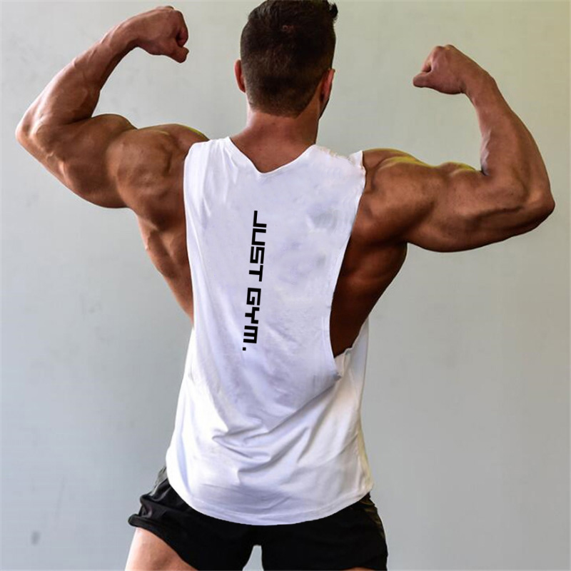 Brand Just Gym Clothing Fitness Mens Sides Cut Off T-shirts Dropped Armholes Bodybuilding Tank Tops Workout Sleeveless Vest