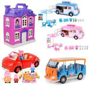 Image 1 - Peppa Pig George Speelgoed Set Roadster Station Wagon Huis Bus Poppen Set Action Figure Anime Speelgoed Voor Kinderen Cartoon Verjaardag gift