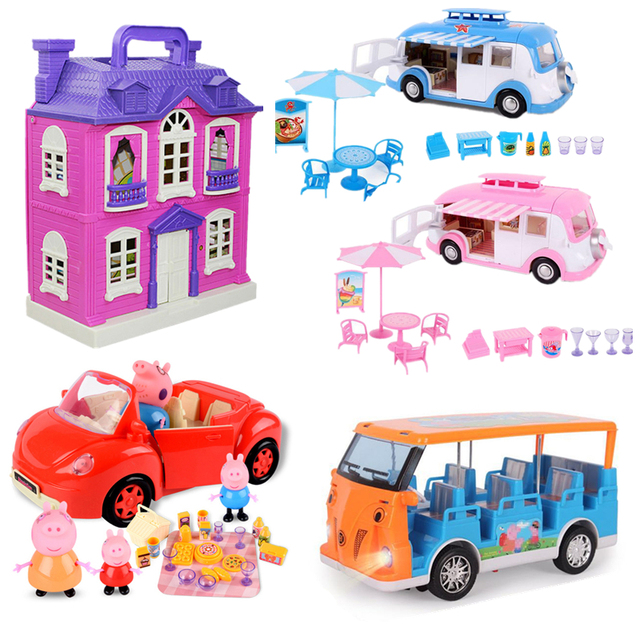 Peppa Pig George Speelgoed Set Roadster Station Wagon Huis Bus Poppen Set Action Figure Anime Speelgoed Voor Kinderen Cartoon Verjaardag gift