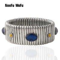 NeeFuWoFu 25mm printemps chaîne Bracelet cuivre pierre naturelle Bracelets bohême de Madera Pulseira Estrela de Cinco Perles élastiques